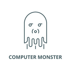 Computer monster vector line icon, outline concept, linear sign