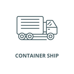 Container ship vector line icon, outline concept, linear sign