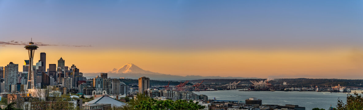 america, panorama, pano, panoramic, washington, seattle, downtown, sky, tower, skyscraper, port, usa, travel, sunset, view, pacific, landscape, building, scenic, mountain, city, tourism, skyline, brea
