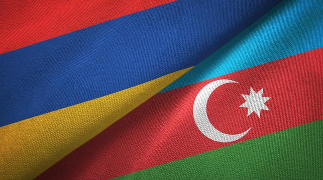 Armenia and Azerbaijan two flags textile cloth, fabric texture