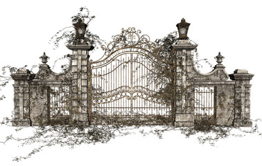3D Rendered Cast Iron Gate on White Background - 3D Illustration