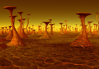 3D Rendered Fantasy Alien Landscape With Abstract Formations - 3D Illustration