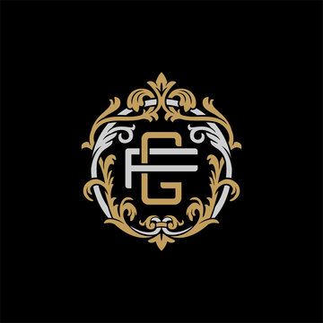 Initial letter F and G, FG, GF, decorative ornament emblem badge, overlapping monogram logo, elegant luxury silver gold color on black background