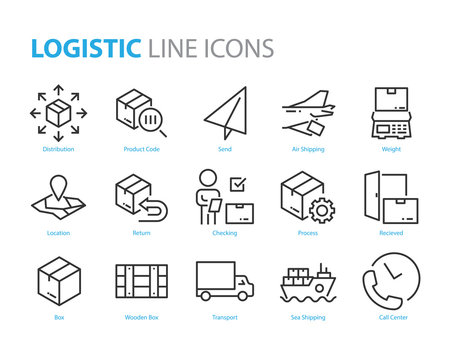 set of logistic icons, such as distribution, delivery, box, shipping, location, sending