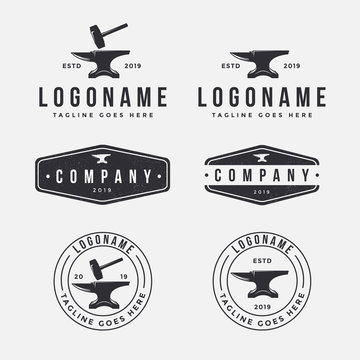 vintage blacksmith anvil logo icon vector template set on white background for industrial  identity