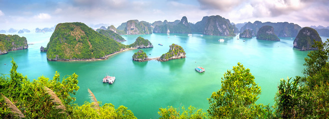 Beautiful landscape Halong Bay view from adove the Ti Top Island. Halong Bay is the UNESCO World Heritage Site, it is a beautiful natural wonder in northern Vietnam
