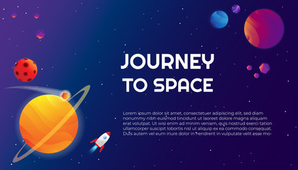 Vector cosmic illustration banner template with colourful planets, moon, asteroids, comets and spaceship on deep blue gradient background with stars