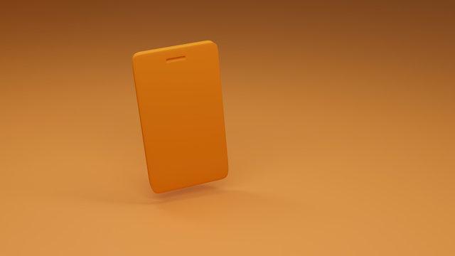 yellow cellphone on orange background. 3D illustration