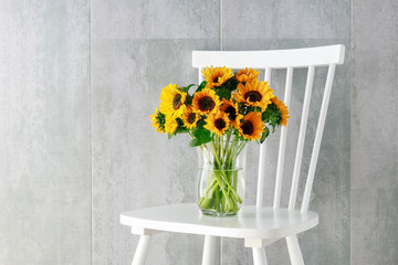 Wall Mural - Bouquet of sunflowers.