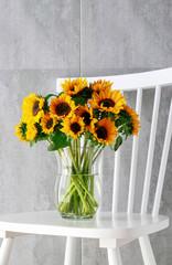 Fototapete - Bouquet of sunflowers.