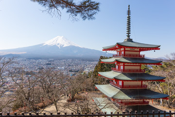 Winter, Chureito pagoda and Fuji mountain in the background view from observation deck Wall mural