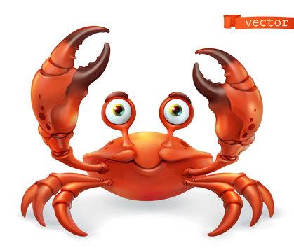 Crab cartoon character. Funny animal 3d vector icon