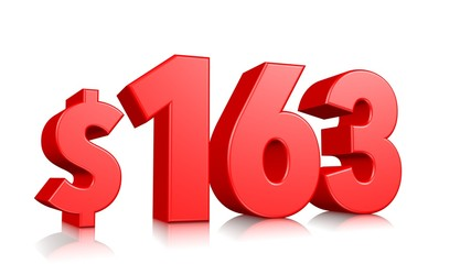 163$ One hundred sixty three price symbol. red text number 3d render with dollar sign on white background