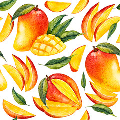 Mango. Botanical watercolor hand drawn illustration. Exotic fruit. Watercolor mango. Seamless pattern