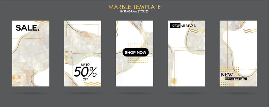 set of Instagram stories template pack with luxury trendy marble texture, can use for sale banner, photo, mobile app, website, landing page, flyer, fashion ads, promotion background. - Vector