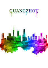 Fototapete - Guangzhou china skyline Portrait Rainbow