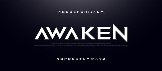 Game Sport Movie Alphabet Font. Typography modern regular style font for technology, digital, logo design. vector illustration Wall mural