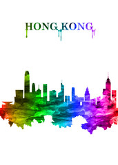 Fototapete - Hong Kong China skyline Portrait Rainbow