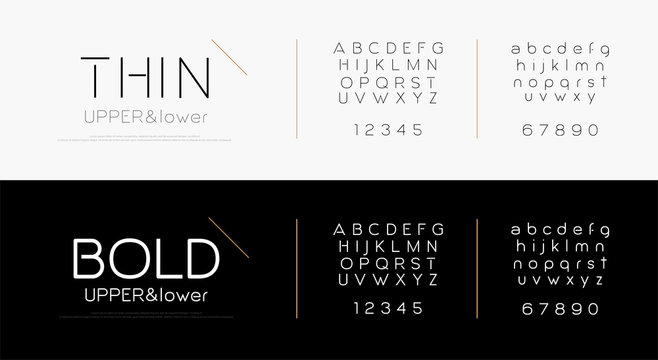 Elegant alphabet letters font set. Classic lettering typography fashion fonts thin, bold, uppercase, lowercase and number. vector illustration