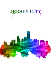 Fototapete - Jersey City New Jersey skyline Portrait Rainbow