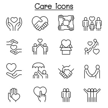Care, generous and sympathize icon set in thin line style
