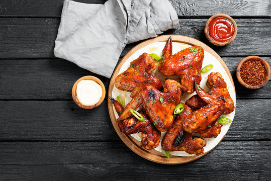 Fried Chicken Wings with sauces.