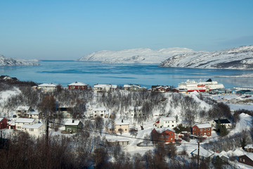 Kirkenes Norway, Landscape looking over township to harbor and passage to barents sea