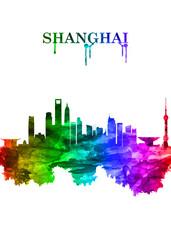 Wall Mural - Shanghai China skyline Portrait Rainbow