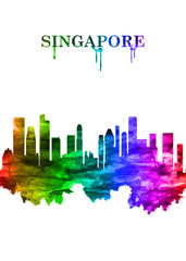 Fototapete - Singapore skyline Portrait Rainbow