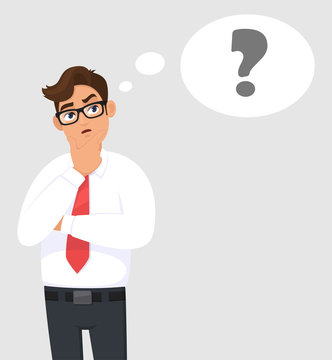 Thoughtful young business man is thinking and looking up. Question mark in the thought bubble. Human emotion, facial expression, feeling concept illustration in vector cartoon style. Modern lifestyle.