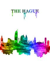 Wall Mural - The Hague Netherlands skyline Portrait Rainbow