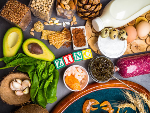 Foods High in Zinc as fish, shrimps, beef, cheese, spinach, cocoa, pumpkin seeds, crab, black caviar, garlic, coconut, milk, cheese, eggs