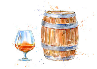 Glass of a cognac and barrel.Picture of a alcoholic drink.Watercolor hand drawn illustration.White background.