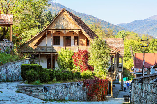 Street Sharambeyan in the town of Dilijan with old houses. Armenia