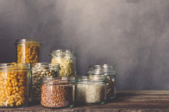 Zero waste. Eco friendly ware for storing groceries, cereals. The concept of sustainable lifestyle