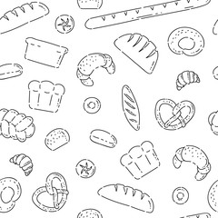 Pattern seamless bakery products bread line doodle icons. Different baked goods vector sketch black isolated illustration on white background.