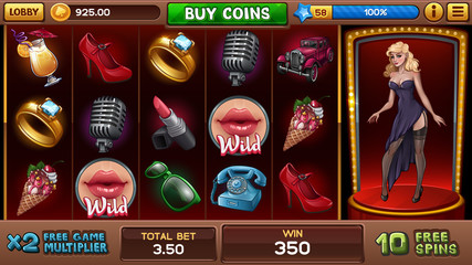 Free games screen for pin-up slots game