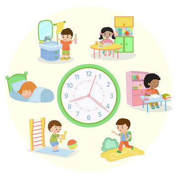 Children schedule banner vector illustration. Daily routine. Set of kids activities, child waking up, sleeping, brushing teeth, eating, going to school, learning, doing exercises.