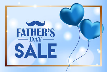 Father's Day sale background, flying heart shaped balloons on blue bokeh lights, Vector Illustration