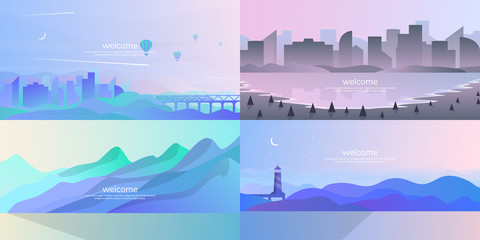 A set of minimalist landscapes.  Vector background in a flat style.  Futuristic concept.  Color gradient with wavy effect