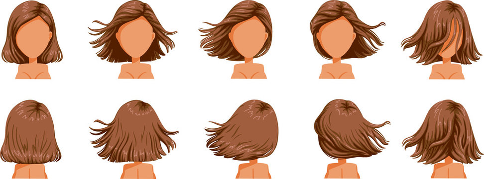 hair blown women set. Wide view The hair is blown away. Front, rear, left, right. Beautiful hairstyle brown short hair of female.  trendy haircut. vector icon set isolated on white background.