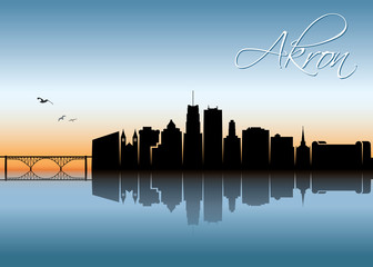 Fototapete - Akron skyline - Ohio, United States of America, USA