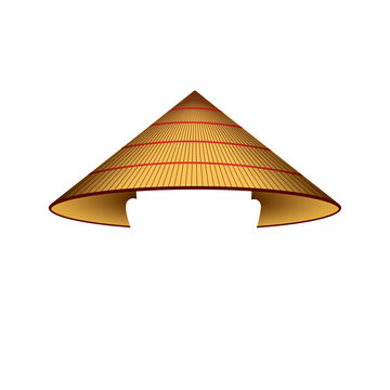 Asian conical rain hat - isolated