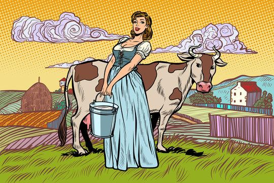 village woman with a bucket of cow milk. farm landscape