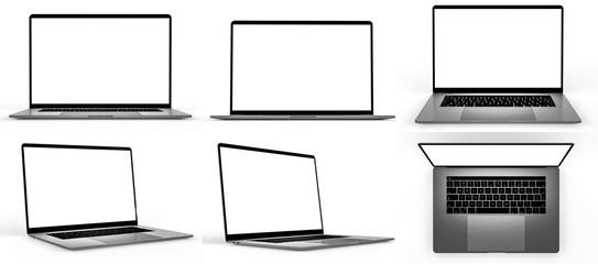 Fototapeta Set of blank laptop isolated obraz