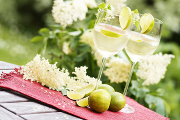 "Refreshing cocktail ""Hugo"" with elder flowers, copy space"