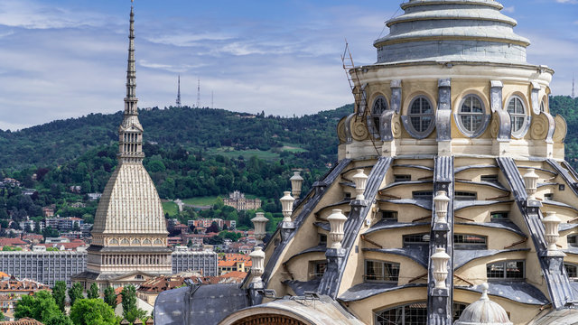 Turin, Torino, aerial timelapse skyline panorama with Mole Antonelliana, Monte dei Cappuccini and the Alps in the background. Italy, Piemonte, Turin.