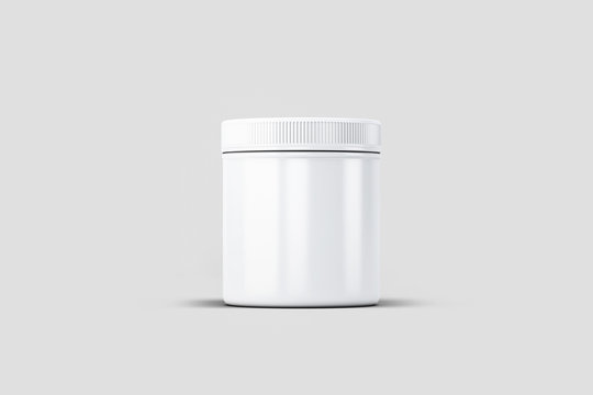 Plastic Jar Mock-up with screw cap, Packaging template on light gray background.3D rendering.
