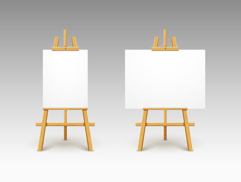 Easel canvas stand vector board isolated. Wooden easel art painting paper frame stand or poster