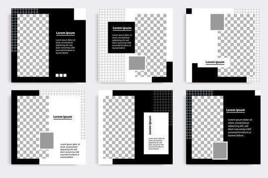 Editable minimal square banner template. Black and white background color. Suitable for social media post and web/internet ads. Vector illustration with photo college